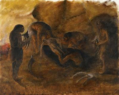 Tash Photograph - Neandertha Burial, Artwork by Science Photo Library