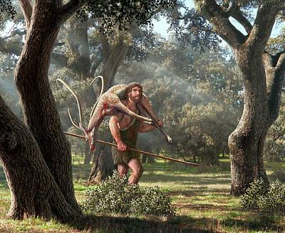 Neanderthal Hunter Art Print