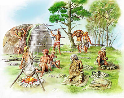 Neanderthal Settlement Art Print by Jose Antonio Pe�as