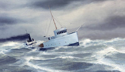 Great Lakes Ship Painting - Near The End by Captain Bud Robinson