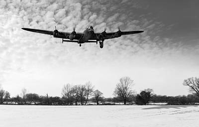 Digital Art - Nearly Home - Lancaster Limping Back In Winter Black And White V by Gary Eason
