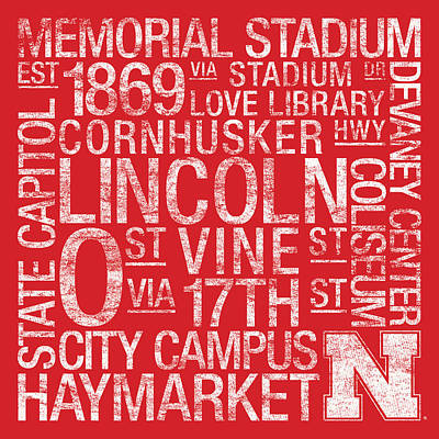 Nebraska College Colors Subway Art Art Print by Replay Photos