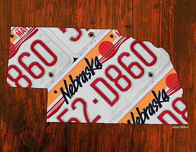 Travel Mixed Media - Nebraska License Plate Map Art by Design Turnpike