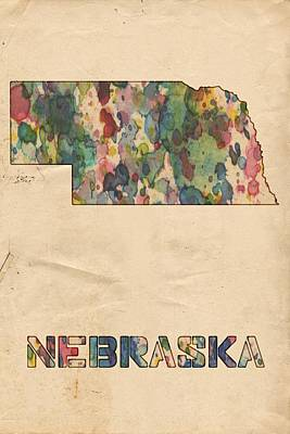 Painting - Nebraska Map Vintage Watercolor by Florian Rodarte