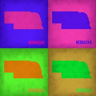 Nebraska Painting - Nebraska Pop Art Map 1 by Naxart Studio