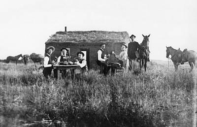Shotgun Houses Wall Art - Photograph - Nebraska Settlers, 1886 by Granger