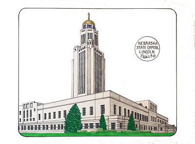 Drawing - Nebraska State Capitol by Frederic Kohli