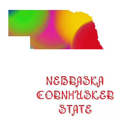 Andee Design Red Digital Art - Nebraska State Map Collection 2 by Andee Design