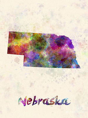 Cartography Painting - Nebraska Us State In Watercolor by Pablo Romero