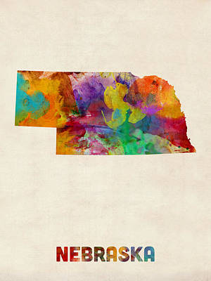 Nebraska Watercolor Map Art Print by Michael Tompsett