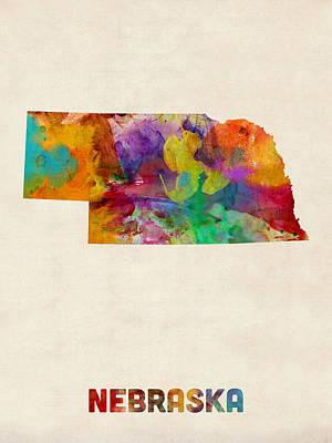 Digital Art - Nebraska Watercolor Map by Michael Tompsett