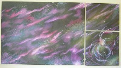 Stellar Painting - Nebula II Triptych by Mark Golomb