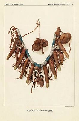 Native American Symbols Photograph - Necklace Of Human Fingers by Art And Picture Collection/new York Public Library