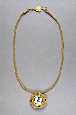 Necklace With Cameo Pendant Unknown Roman Empire 250 - 400 Print by Litz Collection