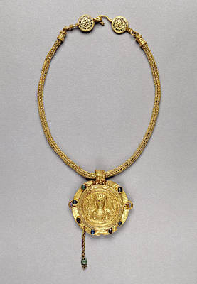 Necklace With Pendant Unknown Roman Empire 250 - 400 Gold Print by Litz Collection