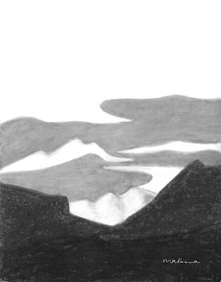Painting - Nederland Afternoon Black And White by Carrie MaKenna