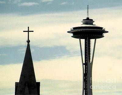 Photograph - Seattle Washington Space  Needle Steeple And Cross by Michael Hoard