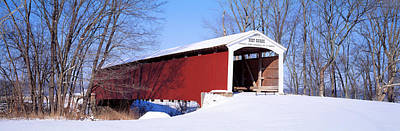 Indiana Winters Photograph - Neet Covered Bridge Parke Co In Usa by Panoramic Images