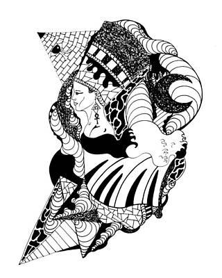Nefertiti And The Moon Art Print by Kenal Louis