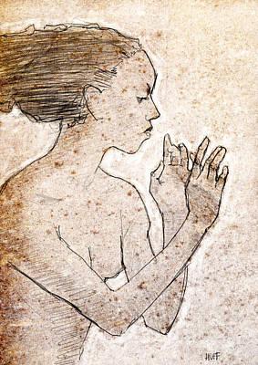 Textured Drawing - Nefertiti  by H James Hoff