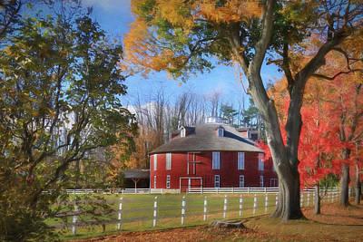 Rural Scenes Digital Art - Neff Round Barn by Lori Deiter