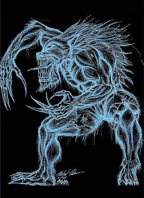 Drawing - Negative Werewolf by Michael Mestas