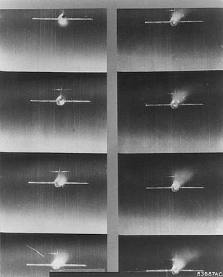 Soviet Union Mixed Media - Negatives Gun Camera Photos Mig 15 Hit Over Korea by L Brown