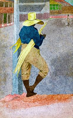 Jamaican Digital Art - Negro Man Stripping Cane Jamaica by William Berryman