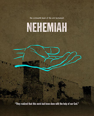 Nehemiah Books Of The Bible Series Old Testament Minimal Poster Art Number 16 Art Print by Design Turnpike