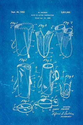 Neider Dual Person Mitten Glove Patent Art 1952 Blueprint Art Print