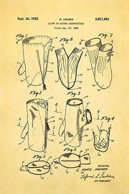 Neider Dual Person Mitten Glove Patent Art 1952 Art Print