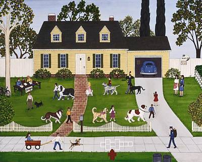1950s Painting - Neighborhood Dog Show by Linda Mears