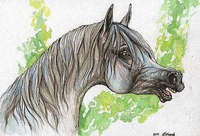 Neighing Grey Arabian Horse Painting  Original by Angel  Tarantella