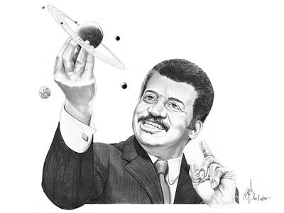 Cosmos Drawing - Neil Degrassee Tyson by Murphy Elliott