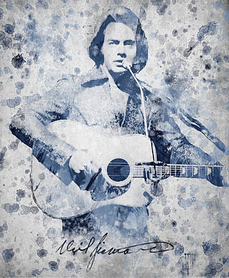 Autograph Digital Art - Neil Diamond Portrait by Aged Pixel