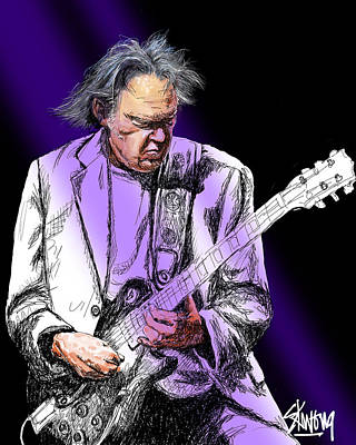 Neil Young Digital Art - Neil by Stan Kwong
