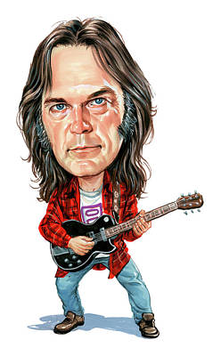 Caricature Painting - Neil Young by Art