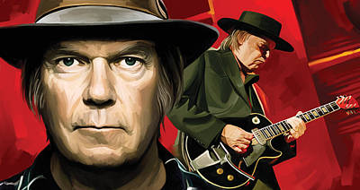 Neil Young Artwork Art Print by Sheraz A