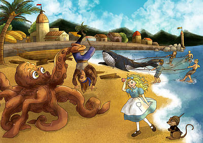 Nellie The Octopus Art Print by Reynold Jay