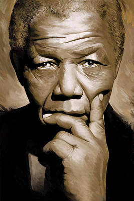 African Mixed Media - Nelson Mandela Artwork by Sheraz A