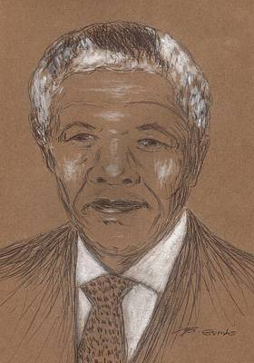 South Congress Drawing - Nelson Mandela by Bob Gumbs