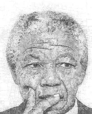 Crying Drawing - Nelson Mandela by Cameron De Bruyn