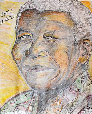 Mother Land Drawing - Nelson Mandela by Darlene Ricks- Parker