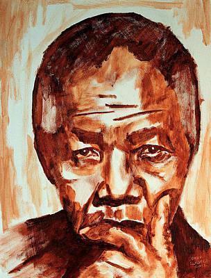 Derek Russell Wall Art - Painting - Nelson Mandela by Derek Russell