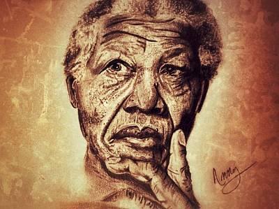 Nelson Mandela  Art Print by Leanne Lewis