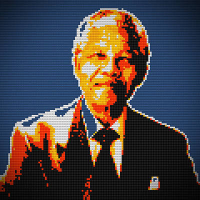 Nelson Mandela Lego Pop Art Art Print by Georgeta Blanaru