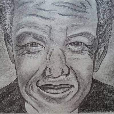 Freedom Fighter Drawing - Nelson Mandela by Nandini  Thirumalasetty