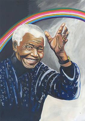Nelson Mandela The Father Of The Rainbow Nation Print by Emmanuel Baliyanga