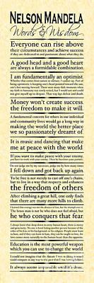 Nelson Mandela Words And Wisdom - Vertical Art Print