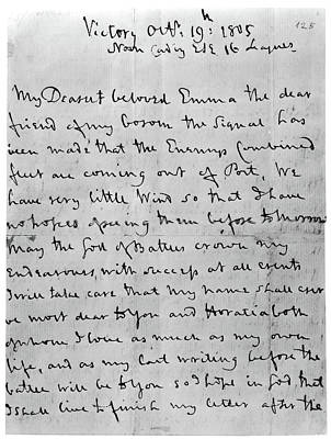 Lord Admiral Nelson Photograph - Nelson's Last Letter, 1805 by Granger